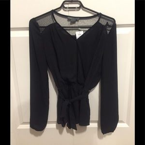 3/$30 black blouse with tie